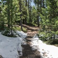 A small amount of snow still remains in early spring in Alderfer/Three Sisters Park- Alderfer/Three Sisters Park Loop
