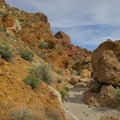 Golden rocks stand out among the sandy bottomed canyon.- Owl Canyon hike