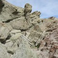 Tilted rock layers tell the geological history of Owl Canyon.- Owl Canyon hike