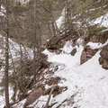 An unmarked trail to the mid-level pool.- Kaaterskill Falls Snowshoe