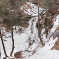 Looking down at the falls.- Kaaterskill Falls Snowshoe