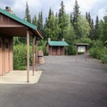 Front area with informational signs and restrooms.- Denali Lookout North + Campground