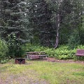 First tent site along the trail.- Denali Lookout North + Campground
