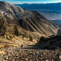 If you aren't continuing on to Bedford Saddle and Mount Inyo, scree ski down the way you came and hie out along the ridge.- Keynot Peak