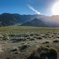 After parking along the dirt road, hike along the gravel or cross-country up Union Wash.- Keynot Peak