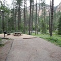 A site in the east loop. Sites here have great views of the red rocks to the west, but they are not nearly as spacious and are also closer to the road (visible in the center of the picture).- Pine Flat Campground