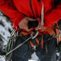 Rigging for the rappel.- Mount Royal: Coin Slot Couloir