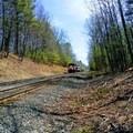 Rail crossing between Walden Pond and Adams Woods.- Walden Pond + Adams Woods
