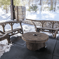 Hand-crafted seating areas.- Mohonk Ice Skating Pavilion