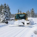 A groomer works its way down the trail.- Kidd Lake / Wiesel Trails