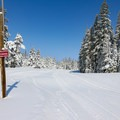 A ski school uses an easy track adjacent to the lodge.- Royal Gorge Cross Country Ski Resort