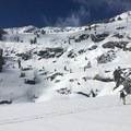Skinning across Angora Lakes.- Angora Peak: Northwest Gullies