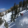 Dropping into a gully on the northwest side of Angora Peak.- Angora Peak: Northwest Gullies