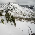 Negotiating the summit ridge.- Mount Raymond Backcountry Skiing
