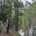 Hiking to snow in spring conditions near the Big Cottonwood Road.- Mount Raymond Backcountry Skiing