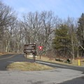 The road converges immediately after you enter Big Meadows.- Big Meadows Campground