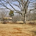 Picnic tables above the campgrounds.- Big Meadows Campground