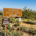 The Ironwood sites are distributed around a day use picnic area.- Ironwood Tent Sites