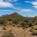 Cat Peaks with the Superstitions in the distance.- Cat Peaks Trail