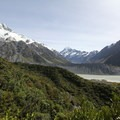 Mueller Lake provides a gorgeous foreground to Mount Cook (3,724 m) in the distance.- Mueller Hut Route