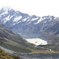 Mount Cook (3,724 m) and Hooker Lake, viewed from Sealy Tarns. The Hooker Valley Track is visible from here.- Mueller Hut Route