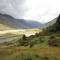 The West Matukituki River viewed from the Rob Roy Glacier Trail.- Rob Roy Glacier Trail