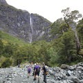 A slip in the forest provides great views of waterfalls above the trail.- Rob Roy Glacier Trail