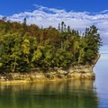 Rock formations along the Lakeshore-North County Trail.- Lakeshore-North Country Trail: Miners Beach to Beaver Creek