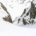 Near the top of the Shooting Star Couloir.- James Peak: Shooting Star Couloir
