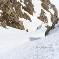 Nearing the exit of the Shooting Star Couloir.- James Peak: Shooting Star Couloir