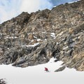 Exiting the Shooting Star Couloir onto the apron.- James Peak: Shooting Star Couloir