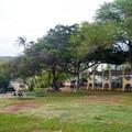 Kahe Beach Park picnic area with covered patio.- Kahe Beach Park / Electric Beach