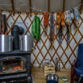 Plenty of room to store wet gear and to warm up in the Geyser Pass Yurt.- Geyser Pass Yurt