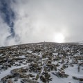 The tedious bootpack.- Mount Mellenthin Backcountry Ski