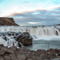 View from the large rock platform in the mist.- Gullfoss