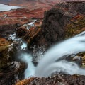 Looking down to the base of the falls.- Dynjandi (Fjallfoss)