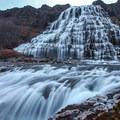 The upper part of the falls takes on a trapezoidal shape.- Dynjandi (Fjallfoss)