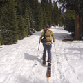 Touring up the unplowed road.- McCullough Gulch