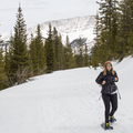 Snowshoeing along the road.- McCullough Gulch