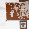 What is left of the McCullough Gulch trail sign.- McCullough Gulch