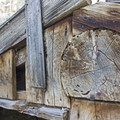 Detail of the wood used to build the cabin.- Sego Canyon