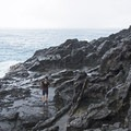 Walking around the left side of Moku Nui heading to a large cove on the northern side.- The Mokulua Islands