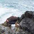 Stopping to pick some opihi, an endemic Hawaiian shellfish.- The Mokulua Islands