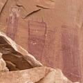 Barrier Canyon Style pictographs are recognizable by their unusual figures.- Black Dragon Wash