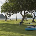 Getting the kayaks ready for a day on the glassy water.- Kualoa Regional Park