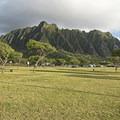 Large open grass field.- Kualoa Regional Park