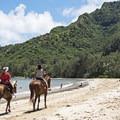 Riding on Kahana Bay Beach.- Kahana Bay Beach