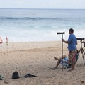 Only a small crop of surf photographers today. Sometimes it looks like the sidelines of an NFL game.- Banzai Pipeline