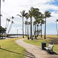 Plenty of grassy area behind Kahala Beach.- Kahala Beach