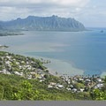 The view from the top toward Kaneohe Bay.- Pu'u Ma'eli'eli Trail